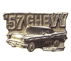 57 CHEVY BELT BUCKLE + display stand