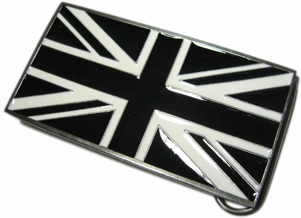 Black Amp White Union Jack Flag Belt Buckle Display Stand