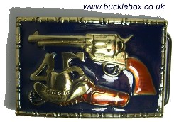 COLT 45 Solid Brass Belt Buckle + display stand