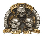 Gold & Silver Plated 'See no Evil - Speak no Evil - Hear no Evil' Belt Buckle with display stand. Code KH8